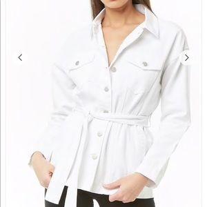 Jackets & Blazers - Forever 21 White Denim Button Front Jacket